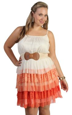 I absolutely LOVE this sites plus size clothes! Deb Shops #coral plus size triple tiered mixed media day #dress
