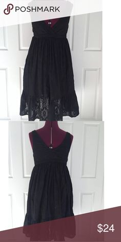 French Connection Black Cotton Blend Tank Dress Black Tank Dress    Lined  Bust 34 and Length 39  Shell 57% Polyester and 43% Cotton  Lining 100% Cotton  Machine Wash Cold and Tumble Dry Low  Please let me know if you have any questions.  Thank you for looking!!!!!!! French Connection Dresses