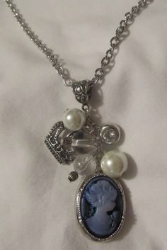 Elegant Blue Cameo Handmade Necklace Lady in White $16.00