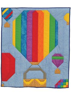 This bright and fun hot-air balloon quilt makes the perfect baby blanket for a boy or girl! It can also be a fun wall hanging for the nursery. Finished sizes: Wall: 24 x 28 Crib: 36 x 42 Lap: 45 x 56 - Sensible Crafting Big Block Quilts, Cute Quilts, Quilt Blocks, Kid Quilts, Quilt Baby, Quilt Bedding, Crochet Quilt Pattern, Bed Quilt Patterns, Air Balloon