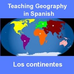 Spanish songs, online activities and printable map for teaching the continents in Spanish.  http://www.spanishplayground.net/geography-in-spanish-continents/
