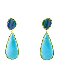 With exuberant color and eye-catching elements of contrast, these Opal and Turquoise Earrings by Martha Ackerman Jewelry are show-stopping, statement-making earrings.  Smooth Sleeping Beauty Turquoise teardrops are suspended from eye-catching, iridescent boulder opals that shimmer with tones of insect green, peacock blue and hints of neon peach.  These handcrafted earrings are surrounded by a halo of vibrant lime green Tsavorite gemstones bezel set in 18k yellow gold.  A stunning combination…