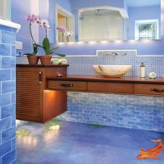 Ignore the fish. What about the idea of floating cabinets? Ignore the fish. What about the idea of floating cabinets? Bathroom Lighting Design, Bathroom Ceiling Light, Bathroom Light Fixtures, Simple Bathroom, Modern Bathroom, Loft Bathroom, Remodel Bathroom, Bathroom Ideas, Classic Bathroom