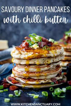 These Savoury Pancakes are a real treat dinner - with chorizo, bacon and chilli butter. I wasn't sure how well chorizo would go with syrup, but it's amazing! Add in the bacon, a little cheese and that salty chilli butter too? This is a seriously good recipe for pancakes with a twist. #pancakes #savory #easy #dinner #breakfast #meal #ideas #chorizo #bacon Pancakes For Dinner, Pancakes And Bacon, Savory Pancakes, Savory Breakfast, Breakfast Recipes, Mini Pancakes, Breakfast Club, Brunch Recipes, Dinner Recipes