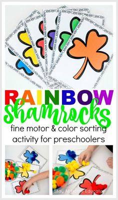 Rainbow Shamrock Color Sorting Printable Activities for preschoolers - Free printable for St. Patrick's Day, free printables for preschoolers. Teach colors and color sorting. Preschool Colors, Teaching Colors, Preschool Crafts, Spring Theme For Preschool, Rainbow Activities, Sorting Activities, Time Activities, Group Activities, Classroom Activities