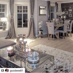 Dining Room Decor grey and white dining room decor Living Room Grey, Living Room Modern, Home Living Room, Living Room Designs, Living Room Decor, Decor Room, Romantic Living Room, Wall Decor, Living Room Inspiration