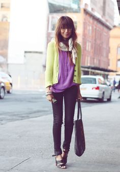 purple + lime + denim