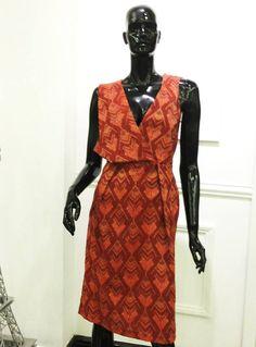 Terracotta ikat sleeveless dress by Vinora