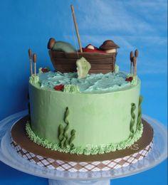 Fishing cake - dad's 60th birthday cake idea.
