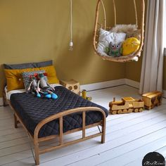 I love the colors used in this room. I love mustard & navy for a boys room…