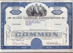Allied Chemical Corporation 2 Color Stock Certificate Set Honeywell New York