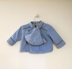1950's Light Blue Corduroy Double Breasted Coat and by BabyTweeds