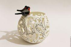 Porcelain Candle Holder |  Подсвечник Снегири в интернет магазине на Ярмарке Мастеров