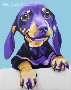 Dachshund Portrait in Blue Throw Pillow by Blue Giraffe Art Works - Cover x with pillow insert - Indoor Pillow Arte Dachshund, Dachshund Love, Daschund, Giraffe Art, Weenie Dogs, Dog Portraits, Portrait Art, Art And Illustration, Animal Paintings