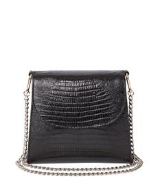Lizard-embossed black leather bag with a mixed metal chain shoulder strap.
