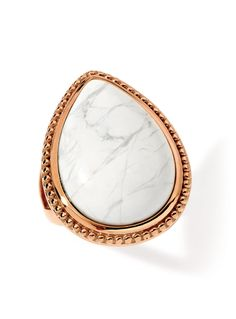 Twilight Rose Gold Stainless Steel Ring with Howlite Twilight Ring, Stainless Steel Rings, Steel Jewelry, Rose Gold, Bracelets, Jewellery, Jewels, Jewelry Shop, Jewerly