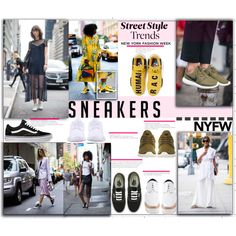 New York Fashion Week Street Style Trend | Sneakers by fassionista on Polyvore featuring Vans, STELLA McCARTNEY, NIKE, adidas, StreetStyle, NYFW, sneakers, contestentry and newyorkfashionweek