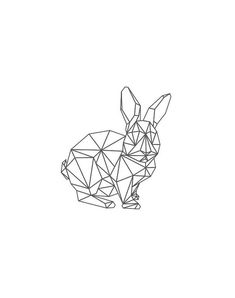 Geometric RabbitBlack Rabbit Rabbit Black and by AnnyDigitalDesign