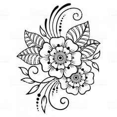 Mehndi flower pattern for henna drawing and tattoo. decoration in ethnic oriental, indian style Mehndi Drawing, Henna Drawings, Zentangle Drawings, Mandala Drawing, Henna Doodle, Tatoo Henna, Flower Pattern Drawing, Flower Patterns, Floral Drawing