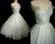 Vintage Prom Dress - 1950s Strapless Sheer Blue Eyelet and Tulle Full Sweep - Wedding - For Size Small Old Hollywood Heroines