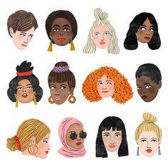 Women's Day 2018 Art Print by bodiljane Art And Illustration, People Illustration, Portrait Illustration, Illustrations, Kunst Inspo, Art Inspo, Arte Gcse, Art Plastique, Canvas
