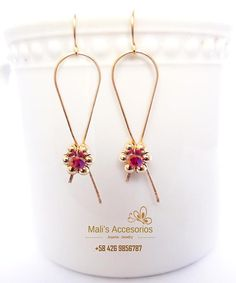 14K Gold Filled, Red Crystal, Dangle Earrings, Jewelry Handmade. Gifts CHRISTMAS