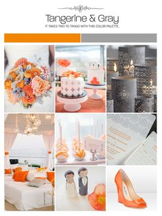 Tangerine, orange and gray inspiration board, wedding ideas, color palette, mood board