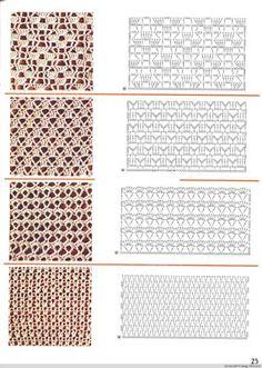 View album on Yandex. Crochet Stitches Chart, Crochet Square Patterns, Crochet Motifs, Crochet Diagram, Lace Patterns, Knitting Stitches, Crochet Designs, Knitting Patterns, Crochet Instructions