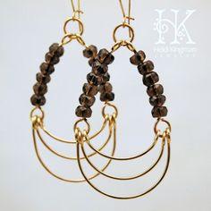 Smokey quartz and goldfill chandelier earrings by Heidi Kingman Jewelry