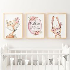 GIRLS WOODLAND NURSERY PRINT SET Description Shipping Available in two standard sizes for easy framing. A4 (21x29.7cm) prints are printed on 250 gsm archival, m