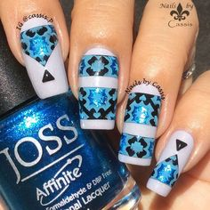 Blue Stripe & Triangle Mani - Nails by Cassis #nails #nailart #nailstamping #pueen