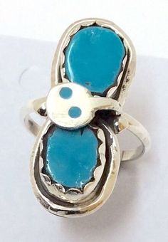 Native American Sterling Silver Zuni Indian Turquoise Size 8&1/2 Ring. Effie.