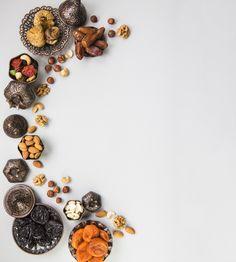 Beautiful bowl full of date fruits symbolizing ramadan, top view Food Menu Design, Food Poster Design, Food Graphic Design, Food Background Wallpapers, Food Backgrounds, Fitness Backgrounds, Food Wallpaper, Fruits Photos, Fruits Images