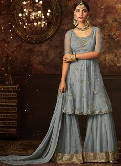 72b5d5716a Grey Net Embroidered Plazzo Style Suits(Semi Stitched) in India