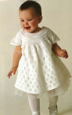 BabyLace Knitted Dress With Cap Sleeves 1980s Knitting Pattern PDF No. 0276 From TimelessOne Shop
