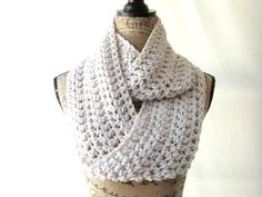 Erin Wheat Infinity Crochet Scarf Cowl Loop by SouthernStitchesCo