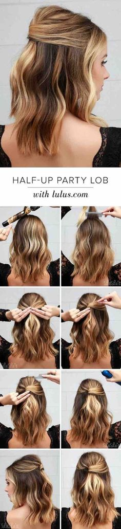 41 Lob Haircut Ideas For Women - Lulus How-To: Half-Up Party Lob! -What is a lob? Step by step easy tutorials on how to cut your hair for a lob haircut and amazing ideas for layered, and straight lobs. Ideas for lobs with bangs, thick hair, wavy and thin hair. For long hair and medium hair. For round faces and sharp features - thegoddess.com/lob-haircut-ideas-women