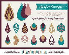 SVG Faux Leather Earrings svg teardrop stacked cutout holes