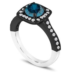 Fancy Blue And White Diamonds Engagement Ring Unique Two Tone 14k Black and White Gold Halo Pave Handcrafted