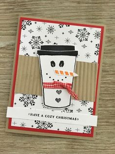 Out comes Coffee Cafe again today for some holiday fun.I stamped the coffee cup and then used pieces from the set to create the snowman.  Each little piece is from the set for the eyes, the buttons an