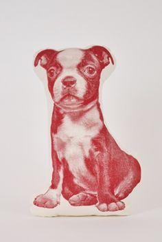 Soft Furnishings - Mini Terrier Cushion in Crimson - Mondegreen