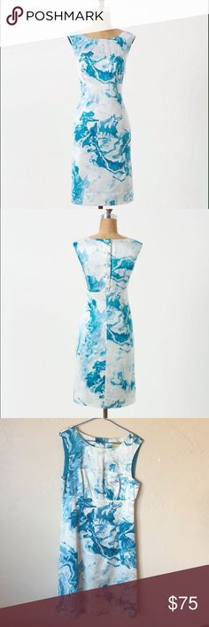 Anthropologie Maeve Marbled Waters Shirt Dress Size 6. Great Condition Silk Blend. Amazingly unique. Has Buttons down the back and hidden side zipper with hook and eye. Still has extra button for fixing if needed. Great Deal Retails for $158 Anthropologie Dresses Midi
