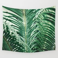 Fresh Paradise (Tropical Palm Tree Leaves Leafs) Wall Tapestry