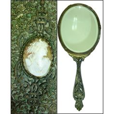 Antique E J.B. Empire Art Filigree Bronze Hand Mirror ($34) ❤ liked on Polyvore featuring home, home decor, mirrors, filigree mirror, bronze mirror, antique hand mirror, crown home decor and bronze home decor