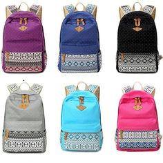 2fea7d1e49e4 Women Canvas Backpack for School Book Teen Girls Vintage Leisure Shoulder  Bag