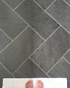 Herringbone Pattern for tile floor.  #BathroomFlooring #Herringbone #TilePattern #FarmhouseBathroom #FixerUpperBathroom