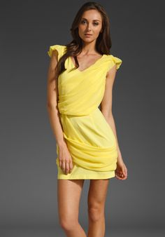 PLASTIC ISLAND  Goddess Draped Mini Dress