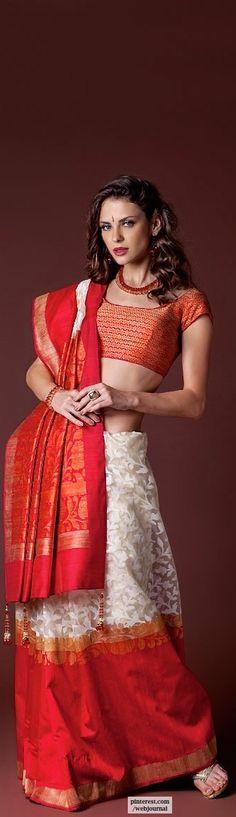 Handloom kora silk with jute border - Benzerworld.com