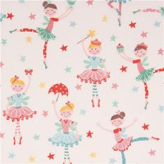 white ballerina dance star fabric by Andover  1