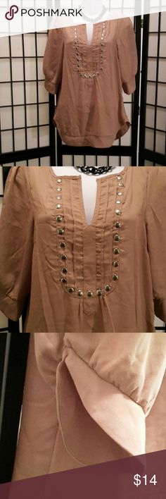 *NWOT* Tan Sheer Tunic Blouse Never Worn, So Cute, Silver Studs, 3/4 Slice Sleeve, Loose Fit,  Accessories not included,  Thanks for sharing my closet, I will show Posh love by doing the same. Windsor Tops Tunics